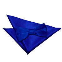 Mens Bow Tie & Hanky Set Satin Plain Solid Royal Blue Wedding Pre-Tied by DQT