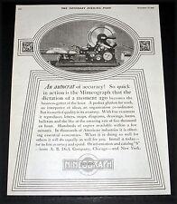 1919 OLD MAGAZINE PRINT AD, A.B. DICK MIMEOGRAPH MACHINE, ACCURACY & SPEED, ART!