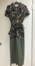 Moschino Vintage 80s Pret A Porter Camo Military Belted Jumpsuit Italy Rare!