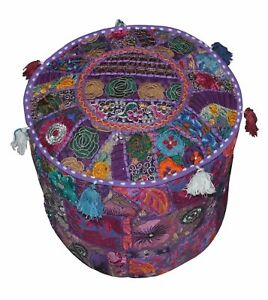 Large Pouf Ottoman Covers Multi Vintage Patchwork Foot Stool Kant Stitch Cover