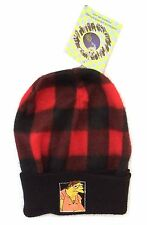 The Simpsons Barney Gumble Embroidered Red Black Plaid Ski Beanie Hat New NWT