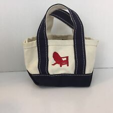 L.L. Bean boat and tote mini small canvas bag Vintage Red Chair USA L21