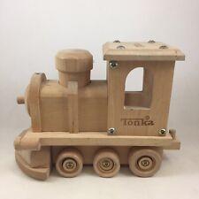 Tonka Toy Wooden Steam Engine Locomotive Train Moving Wheels Light Pine Color