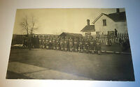 Antique World War 1 (WW1) US Soldiers Town Drill! Kids! Real Photo Postcard RPPC
