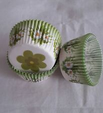100 green daisy white cupcake liners baking paper cup muffin cases 50x33mm