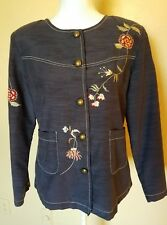 DRESSBARN WOMENS CAREER SMALL BLUE COLLARLESS BLAZER WITH FLORAL EMBROIDERY