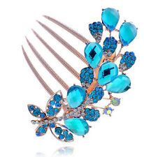Luxury Sparkle Crystal Blue Butterfly Wedding Hair Accessories Comb HA178