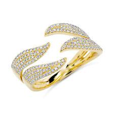 0,50CT 14K Oro Amarillo Natural Pavé Diamante Ondulado Garra Declaración Abierto