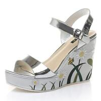 Women's Floral Embroidery Wedge High Heel SHiny Pu Leather Platform Sandals Size