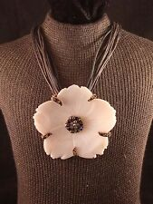 """""""R"""" 12 Strand Black & Brown Waxed Cord Necklace & Shell Flower Pendant"""