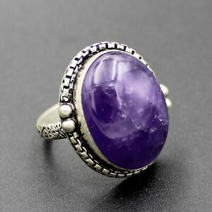 925 Silver Plated Purple Amethyst Handmade Ring Size 9 US Jewelry RJ176-15