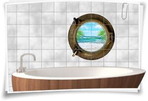 Fliesenaufkleber Fliesenbild Fliesen Bullauge Wasser Strand Meer Sand Bad