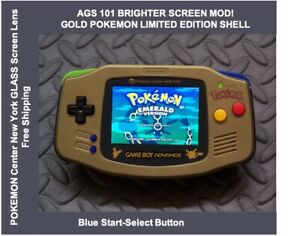 Game Boy Advance GOLD POKEMON LE System AGS101 Backlit Mod-Glass Screen Blue SS