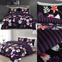 Multicolored Printed Flower Black Duvet Cover With Pillowcases Bedding Set