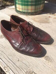 Vintage Florsheim Burgundy Rouge Bison Grain Leather 31879 Wingtip Shoes 8.5 E!