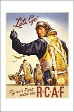 FLY AND FIGHT with the RCAF vintage war recruitment poster COLLECTORS 24X36