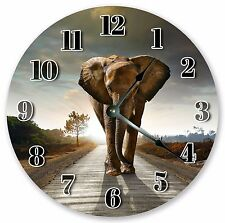 "10.5"" ELEPHANT ON THE WAY CLOCK - Large 10.5"" Wall Clock Home Décor Clock - 3141"
