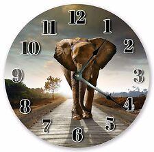 "10.5"" ELEPHANT ON THE WAY CLOCK - Large 10.5"" Wall Clock Home Décor Clock - 3141"