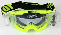 100% PERCENT ACCURI OTG ROLL OFF MX MOTOCROSS GOGGLES FLOU YELLOW over glasses