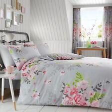 Alice Floral Set Funda Edredón matrimonio Rosas Flores ropa de cama - gris y