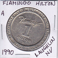 Casino $1 Token Chip - 1990 Flamingo Hilton - Laughlin, Nv Closed 2006 Obsolete