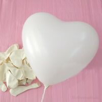 12 inch 100x Snow White Heart Latex Thick Party Balloons 3.2g Helium Floating US