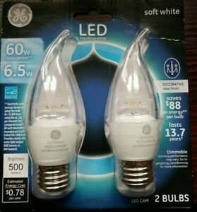 GE LED Soft White 60W Replacement for Chandeliers and Scones