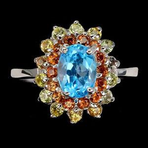 Oval Swiss Blue Topaz 7x5mm Sapphire Diamond Cut 925 Sterling Silver Ring Size 7