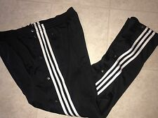 Adidas ~ Vtg Mens Trefoil Black Polyester Athletic Break Away Pants 3 Striped  L