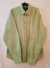 AMBERCOMBIE&FITCH LIME WHITE CHECK MUSCLE STRAIGHT COLLAR COTTON SHIRT SIZE XXL
