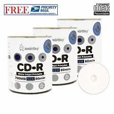 300 Pack Smartbuy CD-R 52X 700MB White Inkjet Printable Blank Recordable Discs