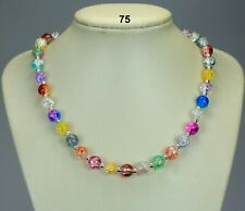 5233f5e06 Multi-coloured glass crackle bead necklace, silver-plated ball spacers 19