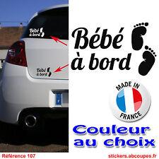 Sticker autocollant Voiture Bébé à bord - Petits pieds Naissance Nouveau né- 107