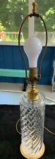 """VTG Signed Waterford Cylindrical Pattern  Crystal 26"""" Polished Brass Table Lamp"""