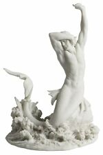 Merman Stretching On Rock White Statue Nautical Sculpture