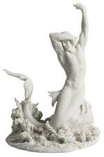 Merman Stretching On Rock White Statue Nautical Sculpture Home Decor *Beautiful