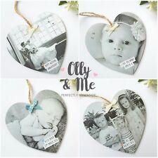 Personalised Wooden Photo Memory Plaque/Sign Heart Gift Keepsake Wedding/Baby