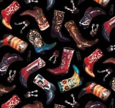 Boots Cowboy Western Happy Trails Black Background Cotton Quilting Fabric 1/2 YD