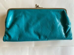 Latico Women's Genuine Leather Double Kiss Folded Wallet/Clutch Color Teal  NWT