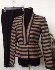 NWT Ann Taylor LOFT Mismatched Brown Black Stripe Pant Suit Size 2, Retail $228