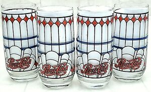 Vintage Pepsi Cola Tiffany Style Stained Glass Glasses Drinking 16 Oz Set of 4