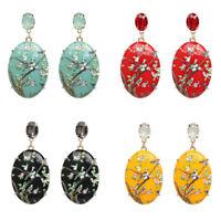Women Fashion Dangle Jewelry Crystal Enamel Resin Water Drop Ear Stud Earrings