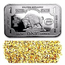 1 TROY OZ .999 SILVER 1901 $10 BISON BAR BU + 10 PIECE ALASKAN PURE GOLD NUGGETS