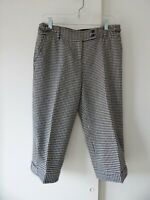 womens black white ANN TAYLOR LOFT ANN pants knickers houndstooth cropped 6