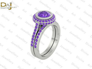 Round Cut Approx 1.90cttw Created Amethyst Halo Engagement Ring Set 925 Silver