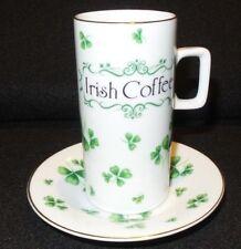 Lefton Irish Cup & Saucer With Shamrocks Sined Geo L. Lefton Saint Patricks Day