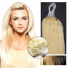 "22"" Easy Loop Micro Rings Beads Remy Human Hair Extensions #613 Light Blonde"