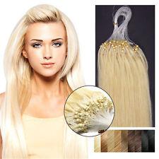 "14""0.4g Easy Loop Micro Rings Beads Remy Human Hair Extensions #613 Light Blonde"