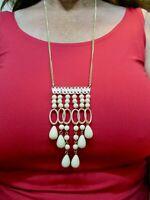 Vintage 1950's Tribal Ethnic & Cream Tassel Necklace