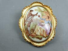 Brooch Pin Victorian Couple Vintage Hand Painted English Porcelain